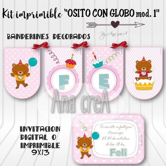 Kit Personalizado Osito Con Globo - Mod. 1 - Imprimible