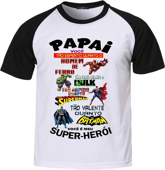 Camisa Camiseta Raglan Dia Dos Pais Meu Herói
