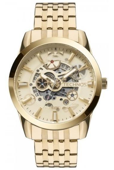 Relógio Technos 8205nq/4x Automático Esqueleto Dourado