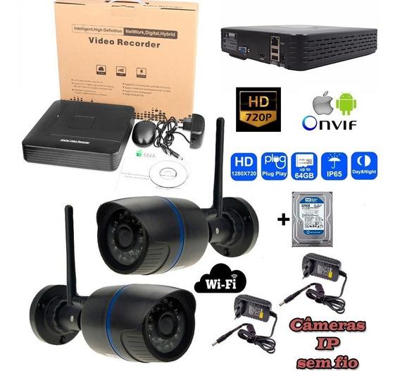 Kit Dvr Com 02 Câmera Ip 720p Wifi + Hd 320g