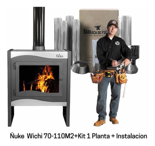 Imagen 1 de 7 de Estufa Calefactor A Leña Ñuke Wichi 70 + Kit + Instalación