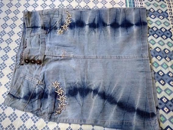 Saia Jeans Azul Manchado
