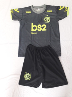 Conjunto Infantil Flamengo 2019 Preta Frete Gratis