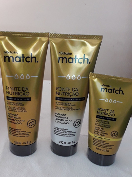 Kit Shampoo, Condicionador E Leave In Match