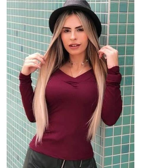 Blusa Canelada Manga Longa Blusinha Ombro A Ombro Bojo Frio