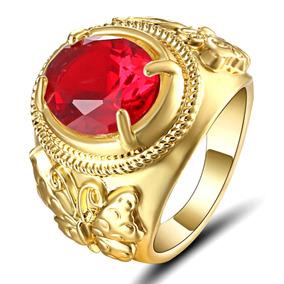 Aro 17 Anel Feminino Grande Cristal Rubi 3 Banhos Ouro 851 P