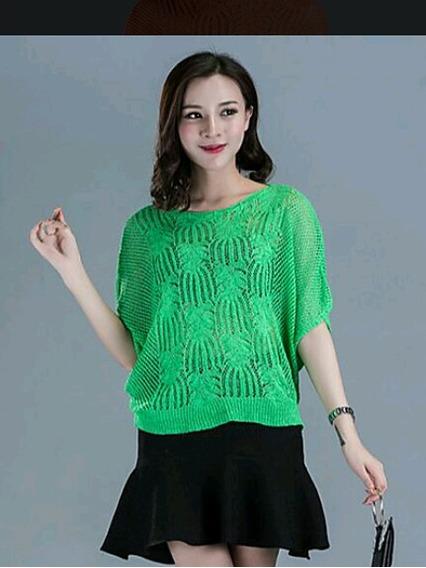 Suetér Tejido Delgado Verde Moda Asiática