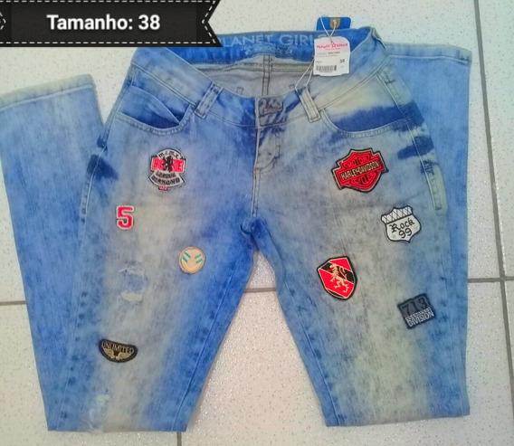 Calça Jeans Bordada Da Planet Girls E De Brinde O Cropped Ou