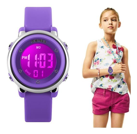 Relógio Esportivo Infantil 7 Cores Luz Skmei Estudante Data
