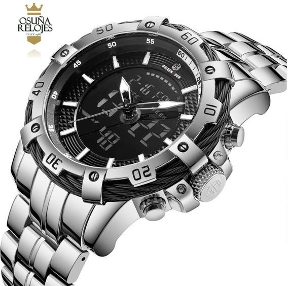 Relógio Prata Dourado Masculino Grande Barato Social De Luxo
