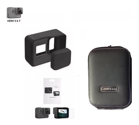 Kit Película + Frame + Bolsa P Para Gopro Hero 5 6 7 Black