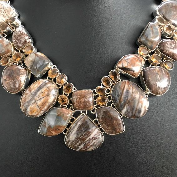 Collar Jaspe & Cuarzo Ahumado Plata 925
