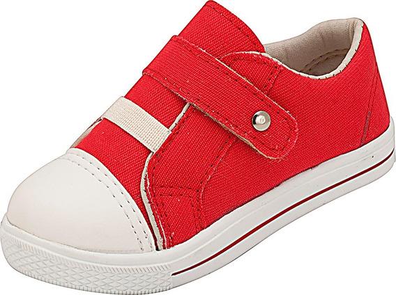 Tênis Infantil Unissex Vermelho Lona Plis Calçados 448