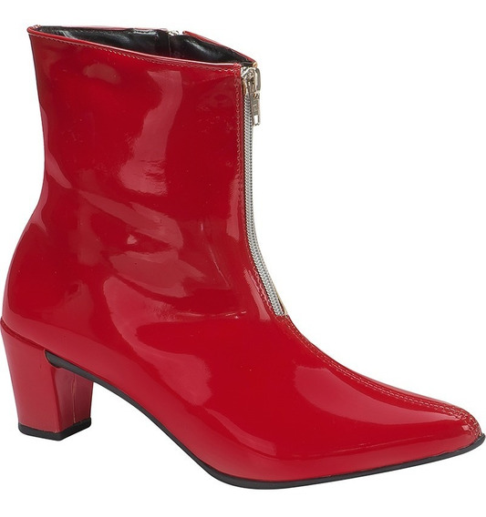 Bota Feminina Ankle Boots Salto Grosso Cano Baixo Verniz