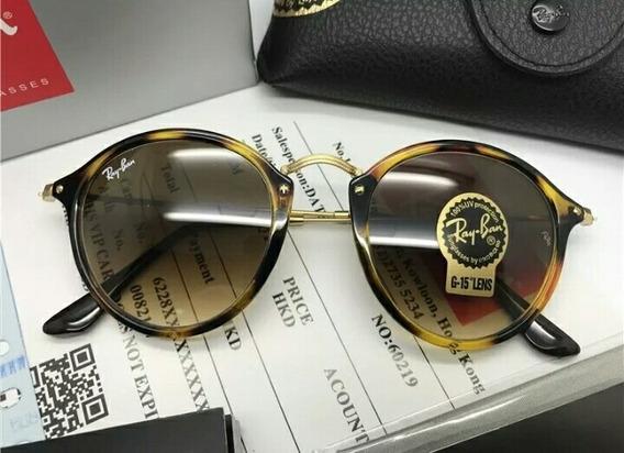Oculos De Sol Ray Ban Round Fleck Rb2447 Tartaruga Unissex