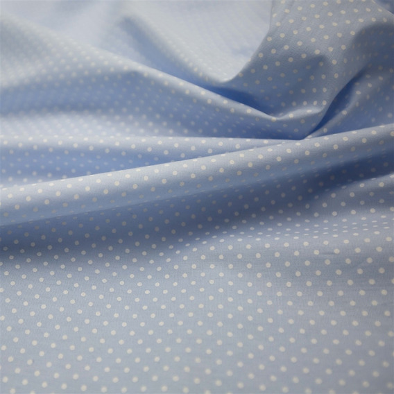 Tecido Tricoline Azul Bebê Estampado Mini Poá Branco