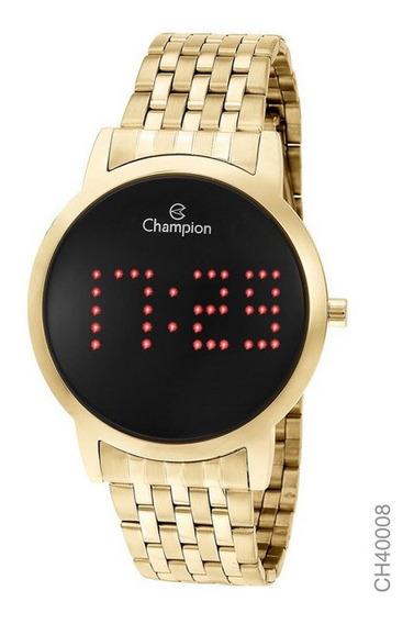 Relógio Champion Dourado Digital Led Vermelho Ch40008v