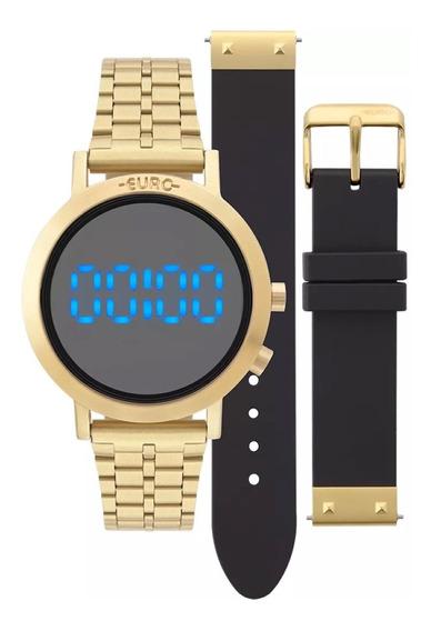 Relógio Feminino Euro Aço Dourado Troca Pulseira Silicone Preto Eubj3407aa/t4p