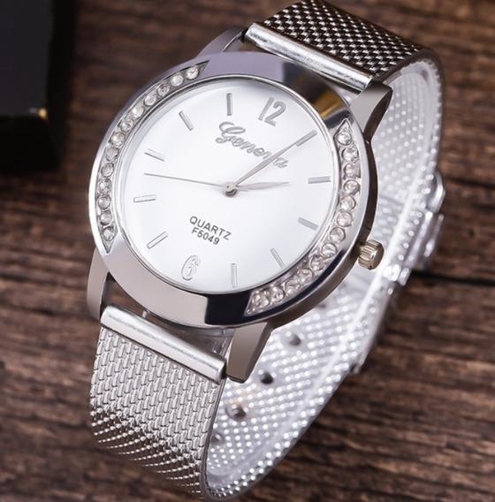 Relógio Geneva De Aço Inoxidável Relógio De Quartzo Luxuoso