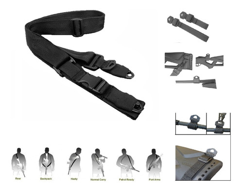 Imagen 1 de 6 de Porta Fusil Tactico 2 Y 3 Puntos Caceria Marcadora Aire Rifl