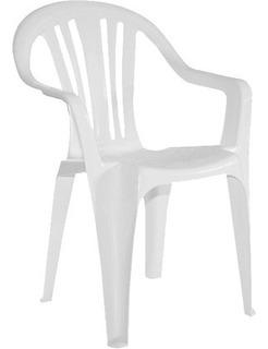Silla Plast C/apoya Brazo Apilable Blanca
