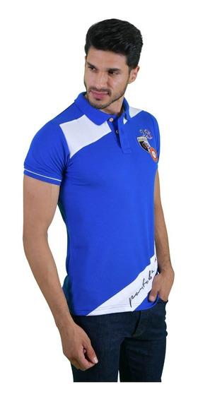 Camisa Polo Porto Blanco Algodon Hombre Azul Rey Pl-819