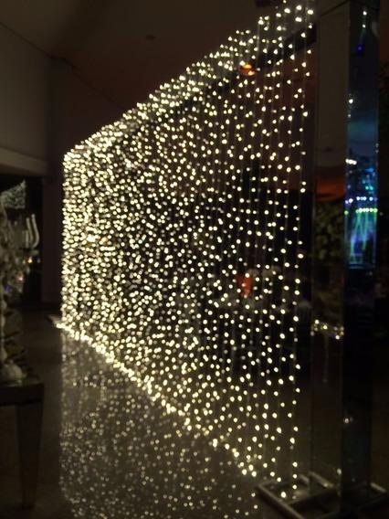 Cortina Led 3m X 3m Luz Fixa Branco Quente 320 Leds 110v