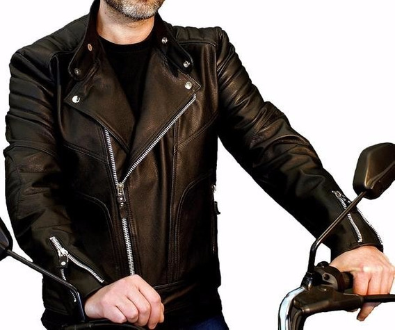 Jaqueta De Couro Motoqueiro Masculina Tradicional Reforçada