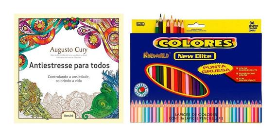 Livro De Colorir Ansiedade Antiestresse Relaxante + 36 Lápis