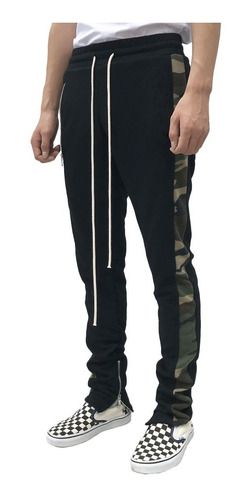 Imagem 1 de 2 de Calça Track Pants Moleton Fitness Masculina Camuflada Sarja