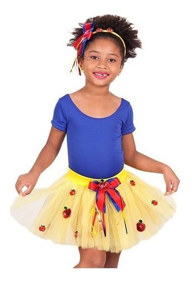 Saia Tule Infantil Carnaval Fantasia Branca De Neve Meninas