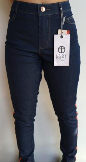Calça Skinny Jeans Barra Desfiada Lady Rock Listra Lateral