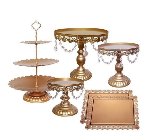 Set De 6 Bases Decorativas Para Pastel & Cupcakes Dorados