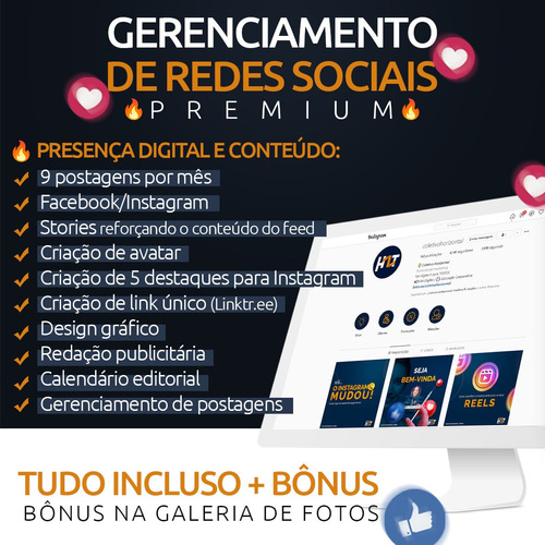 Imagem 1 de 3 de Gerenciamento De Redes Sociais - Premium