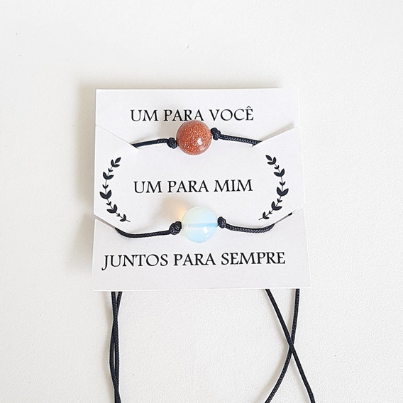 Kit 2 Pulseiras Casal Best Friends Together Forever Sol Lua