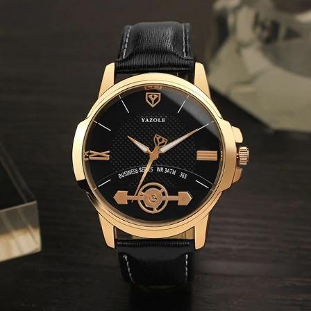 Relógio Masculino Yazole 365 Watches Pulseira De Couro