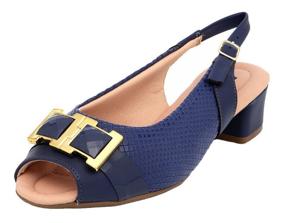 Sandália Peep Toe Feminina Piccadilly 166004 Azul Salto Baix