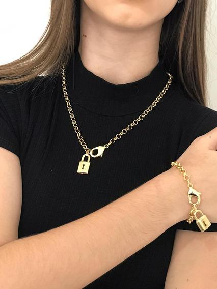 Colar Feminino Corrente Choker Tendência Cadeado +pulseira