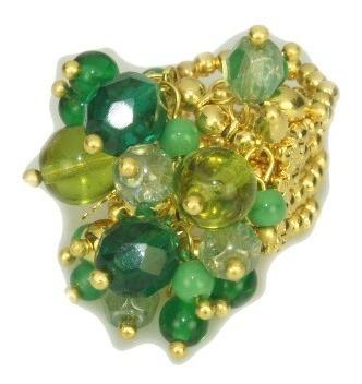 Anel Dourado E Cristais Verdes 4455- Carol Gregori