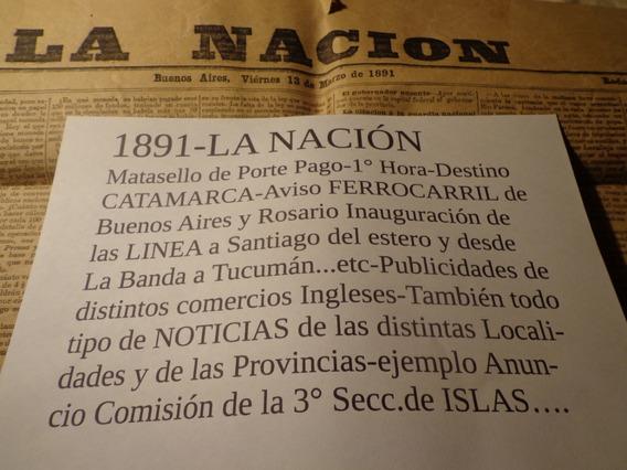 1891-a Catamarca La Nación-13 De Marzo-matasello Leer Foto