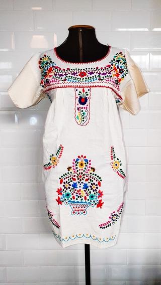 Vestido Mexicano Curto Algodão Manga Bordado A Mão Varal