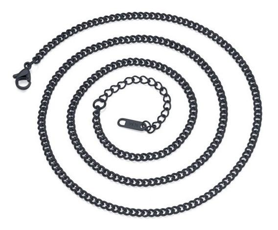 Corrente Masculina Cordão De Aço Grafite Polido 60 Cm X 3 Mm