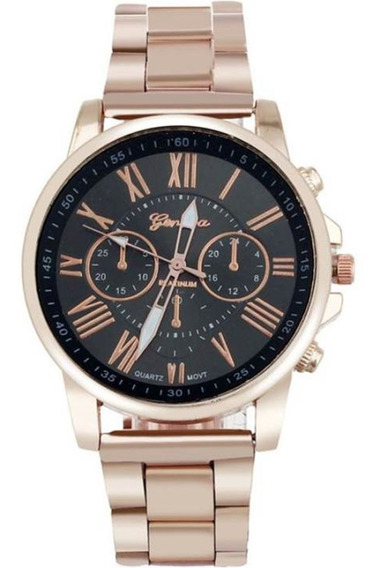 Relógio Feminino Geneva Dourado Platinum De Aço Promoção