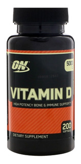 Vitamina D, 5000 Ui,optimum Nutrition, 200 Cápsulas,