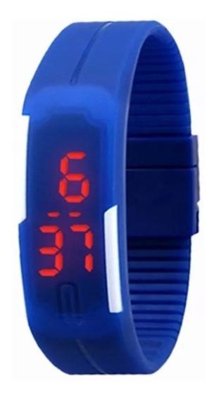 Relógio Digital Led Sport Pulseira Azul E Branco