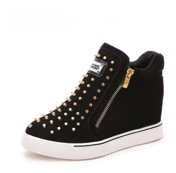 Tênis Boot Zíper Spikes Rock Sneaker Feminino 2 Cores