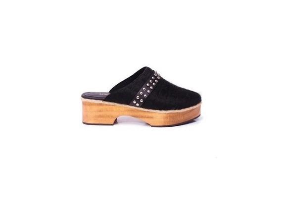 Zapato Mujer Zueco Natacha Cuero Pelo Negro #2992