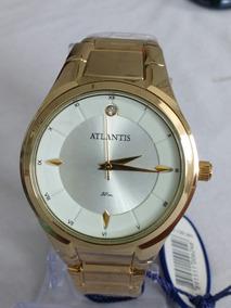 Relógio Feminino Atlantis Original Dourado Strass Delicado
