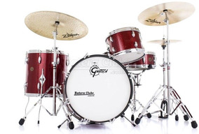Bateria Gretsch Round Badge Vintage De 1966 Red Sparkle Com