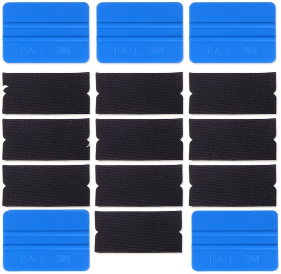 Kit 5 Espatulas 3m Azul 10 Feltros P/ Adesivo Envelopamento